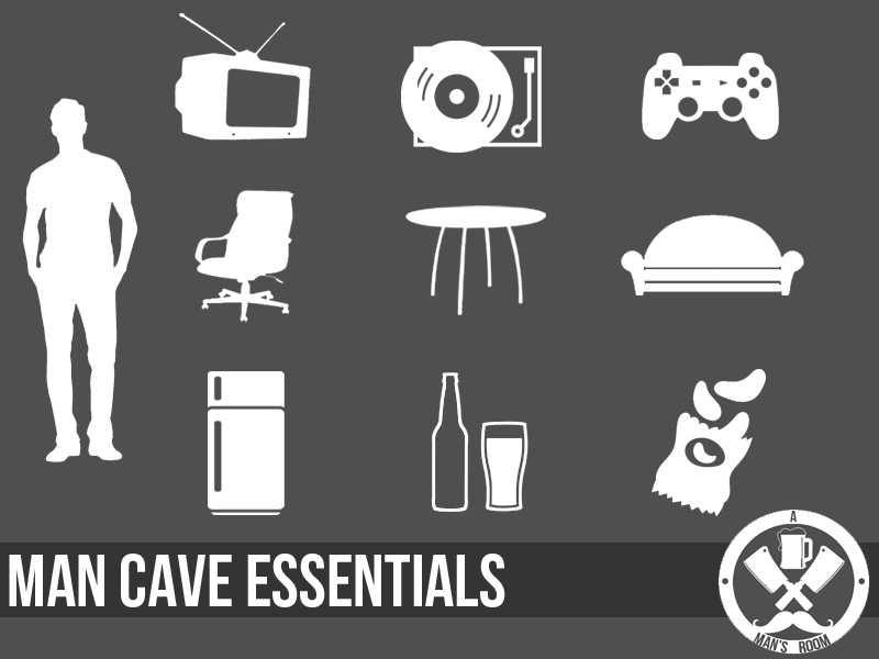 man cave essentials infographic